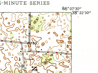 Reduced fragment of topographic map en--usgs--024k--011989--(1946)--N038-22-30_W086-15-00--N038-15-00_W086-07-30