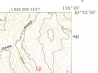Reduced fragment of topographic map en--usgs--024k--012030--(1960)--N032-52-30_W116-37-30--N032-45-00_W116-30-00; towns and cities Pine Valley