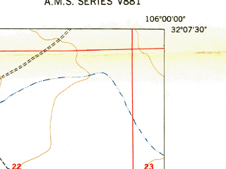 Reduced fragment of topographic map en--usgs--024k--012052--(1948)--N032-07-30_W106-07-30--N032-00-00_W106-00-00