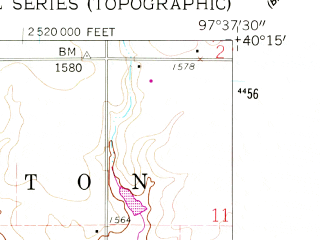 Reduced fragment of topographic map en--usgs--024k--012059--(1960)--N040-15-00_W097-45-00--N040-07-30_W097-37-30; towns and cities Deshler