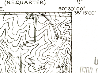 Reduced fragment of topographic map en--usgs--024k--012063--(1955)--N038-15-00_W090-37-30--N038-07-30_W090-30-00 in area of Lake Wawwanoka; towns and cities De Soto, Hillsboro