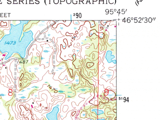 Reduced fragment of topographic map en--usgs--024k--012071--(1959)--N046-52-30_W095-52-30--N046-45-00_W095-45-00 in area of Detroit Lake; towns and cities Detroit Lakes