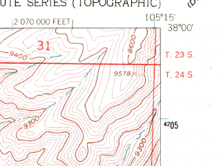 Reduced fragment of topographic map en--usgs--024k--012095--(1960)--N038-00-00_W105-22-30--N037-52-30_W105-15-00