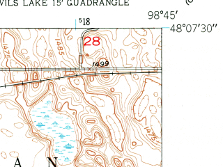 Reduced fragment of topographic map en--usgs--024k--012107--(1951)--N048-07-30_W098-52-30--N048-00-00_W098-45-00; towns and cities Devils Lake