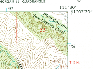 Reduced fragment of topographic map en--usgs--024k--012119--(1961)--N041-07-30_W111-37-30--N041-00-00_W111-30-00
