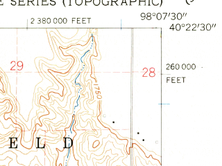 Reduced fragment of topographic map en--usgs--024k--012139--(1960)--N040-22-30_W098-15-00--N040-15-00_W098-07-30; towns and cities Deweese