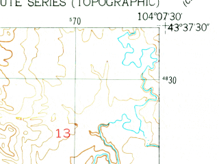 Reduced fragment of topographic map en--usgs--024k--012156--(1951)--N043-37-30_W104-15-00--N043-30-00_W104-07-30