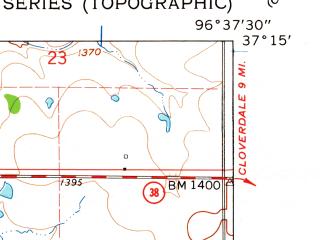 Reduced fragment of topographic map en--usgs--024k--012160--(1962)--N037-15-00_W096-45-00--N037-07-30_W096-37-30; towns and cities Dexter