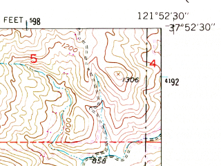 Reduced fragment of topographic map en--usgs--024k--012176--(1953)--N037-52-30_W122-00-00--N037-45-00_W121-52-30; towns and cities Danville, San Ramon, Alamo, Blackhawk