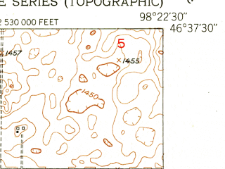 Reduced fragment of topographic map en--usgs--024k--012239--(1952)--N046-37-30_W098-30-00--N046-30-00_W098-22-30; towns and cities Dickey