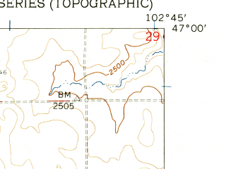 Reduced fragment of topographic map en--usgs--024k--012249--(1959)--N047-00-00_W102-52-30--N046-52-30_W102-45-00; towns and cities Dickinson