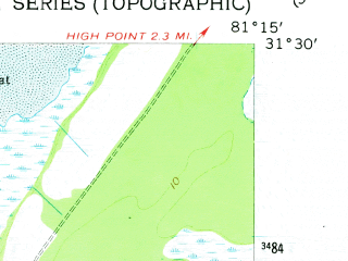 Reduced fragment of topographic map en--usgs--024k--012397--(1954)--N031-30-00_W081-22-30--N031-22-30_W081-15-00