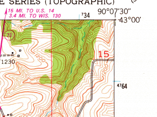 Reduced fragment of topographic map en--usgs--024k--012426--(1952)--N043-00-00_W090-15-00--N042-52-30_W090-07-30; towns and cities Dodgeville