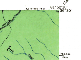 Reduced fragment of topographic map en--usgs--024k--012435--(1935)--N036-30-00_W082-00-00--N036-22-30_W081-52-30