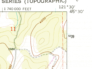 Reduced fragment of topographic map en--usgs--024k--012460--(1962)--N045-30-00_W121-37-30--N045-22-30_W121-30-00
