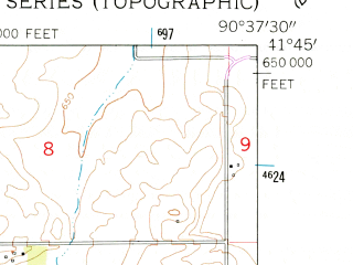 Reduced fragment of topographic map en--usgs--024k--012514--(1953)--N041-45-00_W090-45-00--N041-37-30_W090-37-30; towns and cities Donahue, Maysville