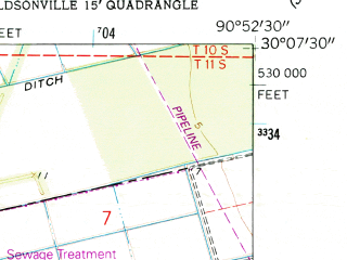Reduced fragment of topographic map en--usgs--024k--012519--(1962)--N030-07-30_W091-00-00--N030-00-00_W090-52-30; towns and cities Donaldsonville