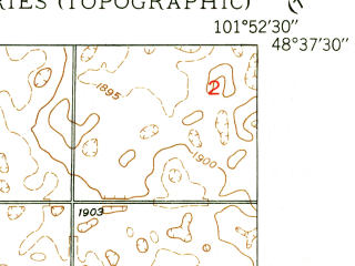 Reduced fragment of topographic map en--usgs--024k--012547--(1948)--N048-37-30_W102-00-00--N048-30-00_W101-52-30; towns and cities Donnybrook