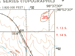 Reduced fragment of topographic map en--usgs--024k--012587--(1956)--N038-52-30_W098-45-00--N038-45-00_W098-37-30; towns and cities Bunker Hill