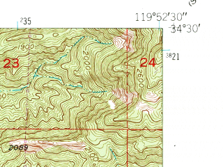 Reduced fragment of topographic map en--usgs--024k--012604--(1951)--N034-30-00_W120-00-00--N034-22-30_W119-52-30