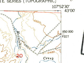 Reduced fragment of topographic map en--usgs--024k--012622--(1952)--N043-00-00_W108-00-00--N042-52-30_W107-52-30