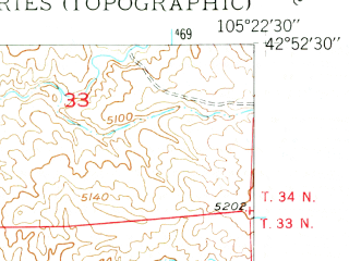 Reduced fragment of topographic map en--usgs--024k--012660--(1949)--N042-52-30_W105-30-00--N042-45-00_W105-22-30; towns and cities Douglas