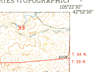 Reduced fragment of topographic map en--usgs--024k--012660--(1950)--N042-52-30_W105-30-00--N042-45-00_W105-22-30; towns and cities Douglas