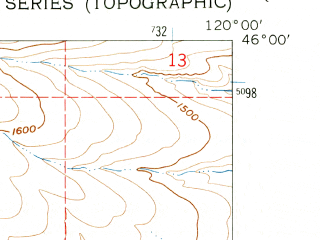 Reduced fragment of topographic map en--usgs--024k--012672--(1962)--N046-00-00_W120-07-30--N045-52-30_W120-00-00