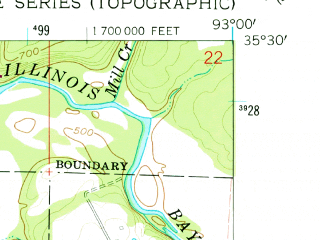 Reduced fragment of topographic map en--usgs--024k--012687--(1961)--N035-30-00_W093-07-30--N035-22-30_W093-00-00; towns and cities Dover