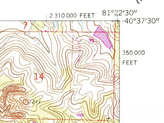 Reduced fragment of topographic map en--usgs--024k--012690--(1961)--N040-37-30_W081-30-00--N040-30-00_W081-22-30; towns and cities Dover, Parral, Zoar