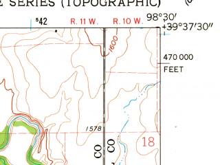 Reduced fragment of topographic map en--usgs--024k--012726--(1960)--N039-37-30_W098-37-30--N039-30-00_W098-30-00; towns and cities Downs