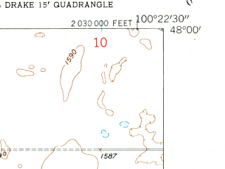Reduced fragment of topographic map en--usgs--024k--012759--(1958)--N048-00-00_W100-30-00--N047-52-30_W100-22-30; towns and cities Drake
