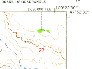 Reduced fragment of topographic map en--usgs--024k--012762--(1958)--N047-52-30_W100-30-00--N047-45-00_W100-22-30