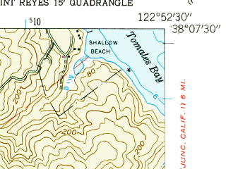 Reduced fragment of topographic map en--usgs--024k--012763--(1953)--N038-07-30_W123-00-00--N038-00-00_W122-52-30