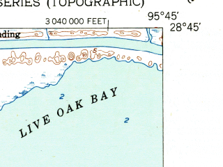 Reduced fragment of topographic map en--usgs--024k--012781--(1952)--N028-45-00_W095-52-30--N028-37-30_W095-45-00