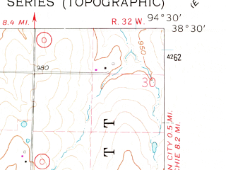 Reduced fragment of topographic map en--usgs--024k--012789--(1961)--N038-30-00_W094-37-30--N038-22-30_W094-30-00; towns and cities Drexel, Merwin