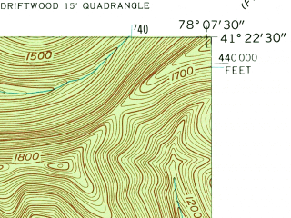 Reduced fragment of topographic map en--usgs--024k--012792--(1945)--N041-22-30_W078-15-00--N041-15-00_W078-07-30; towns and cities Driftwood