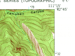 Reduced fragment of topographic map en--usgs--024k--012876--(1949)--N042-45-00_W111-22-30--N042-37-30_W111-15-00