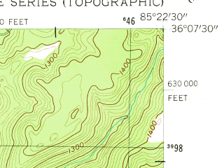 Reduced fragment of topographic map en--usgs--024k--012877--(1956)--N036-07-30_W085-30-00--N036-00-00_W085-22-30