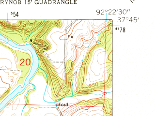 Reduced fragment of topographic map en--usgs--024k--012885--(1954)--N037-45-00_W092-30-00--N037-37-30_W092-22-30