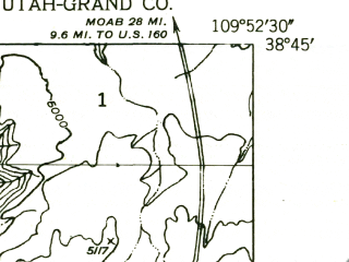 Reduced fragment of topographic map en--usgs--024k--012896--(1952)--N038-45-00_W110-00-00--N038-37-30_W109-52-30