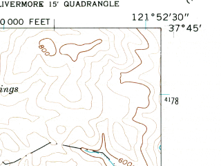 Reduced fragment of topographic map en--usgs--024k--012899--(1961)--N037-45-00_W122-00-00--N037-37-30_W121-52-30; towns and cities Pleasanton, Dublin
