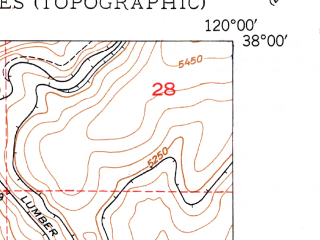 Reduced fragment of topographic map en--usgs--024k--012932--(1949)--N038-00-00_W120-07-30--N037-52-30_W120-00-00