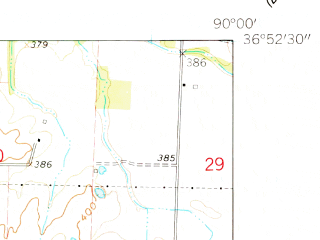 Reduced fragment of topographic map en--usgs--024k--012938--(1962)--N036-52-30_W090-07-30--N036-45-00_W090-00-00; towns and cities Dudley