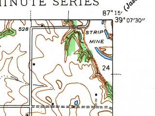 Reduced fragment of topographic map en--usgs--024k--012958--(1943)--N039-07-30_W087-22-30--N039-00-00_W087-15-00; towns and cities Dugger