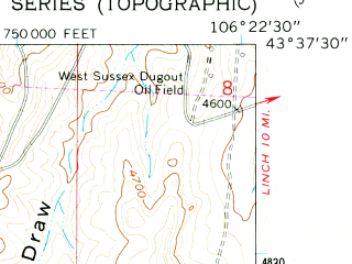 Reduced fragment of topographic map en--usgs--024k--012966--(1961)--N043-37-30_W106-30-00--N043-30-00_W106-22-30