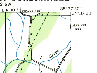 Reduced fragment of topographic map en--usgs--024k--012968--(1936)--N034-37-30_W085-45-00--N034-30-00_W085-37-30; towns and cities Hammondville, Valley Head