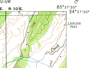 Reduced fragment of topographic map en--usgs--024k--012968--(1946)--N034-37-30_W085-45-00--N034-30-00_W085-37-30; towns and cities Hammondville, Valley Head