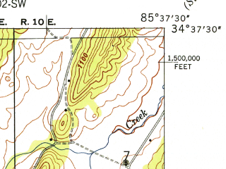 Reduced fragment of topographic map en--usgs--024k--012968--(1947)--N034-37-30_W085-45-00--N034-30-00_W085-37-30; towns and cities Hammondville, Valley Head