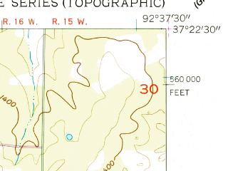 Reduced fragment of topographic map en--usgs--024k--013018--(1956)--N037-22-30_W092-45-00--N037-15-00_W092-37-30